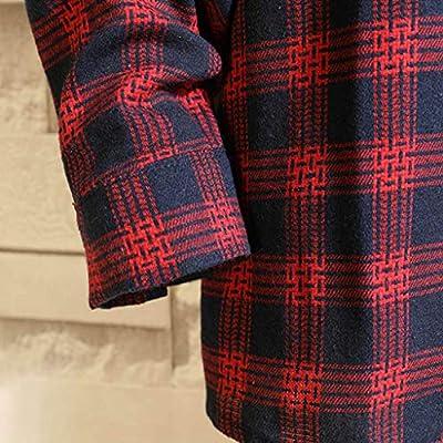 WINJUD Mens Shirt Long Sleeve Regular Fit Plaid Top Autumn Winter Casual Shirts at  Men's Clothing store