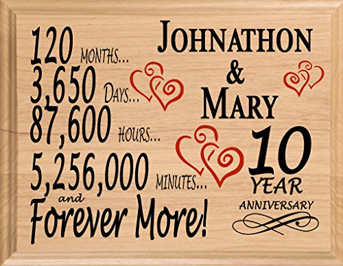 Broad Bay - Personalized 10th Year for Him Her Wife Husband Couple (Ten Year Wedding Anniversary Gift For Him)