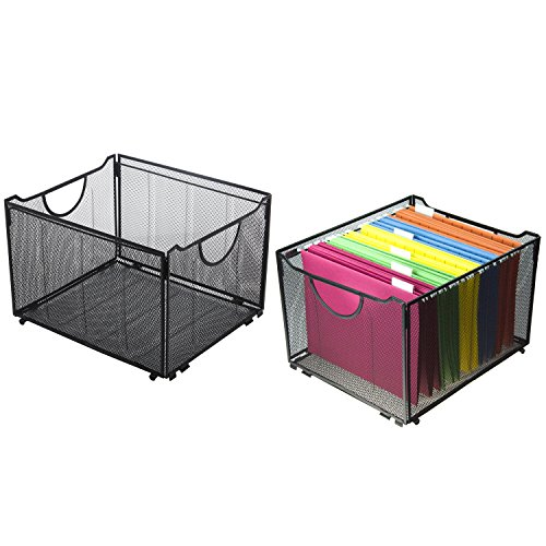 Side File Rail - Set of 2 Modern Black Metal Mesh Foldable Office File Folder Organizer Rack Storage Crate