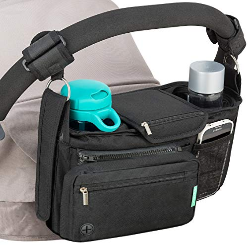 STROLLER ORGANIZER with cup holders NON-SKID strap FITS ALL strollers, Compact Mirror, Storage for Phone, Wallet, Toys, BEST BABY SHOWER GIFT! by SWANOO best stroller organizer!