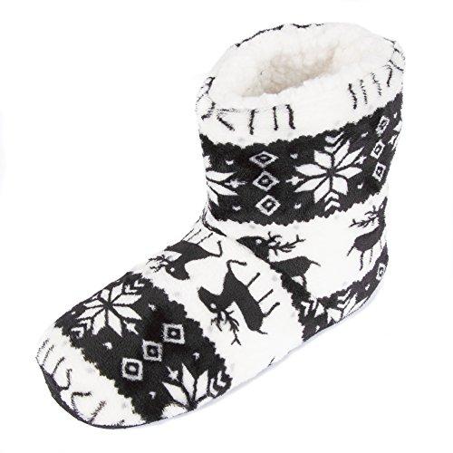 Leisureland Womens Fleece Lined Bootie Slippers Reindeer Black eKkI51KO