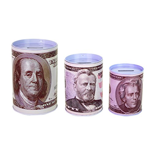 Dollar Bill Piggy Bank Coin Saving Money Currency Benjamin Franklin C Note Tin Can Banknote Jar $100 $50 $20 $10 Dollar Bill Dead Presidents By Spreezie ()