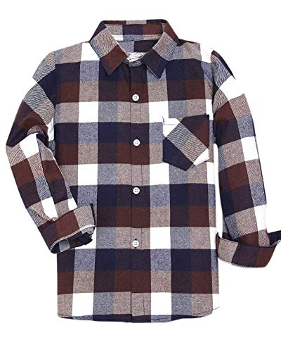 Boys Kids Long Sleeves Button Down Check Plaid Flannel Shirt Tops, Brown, Age 18M-24M (18-24 Months) = Tag 90