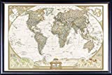 FRAMED Political Map Of The World 24x36 Poster Dry Mounted in Executive Series Black Wood Frame With Gold Lip - Crafted in USA