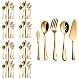 Flatware Set, Magicpro Modern Royal 45-Pieces gold Stainless Steel Flatware for Wedding Festival Christmas Party, Service For 8