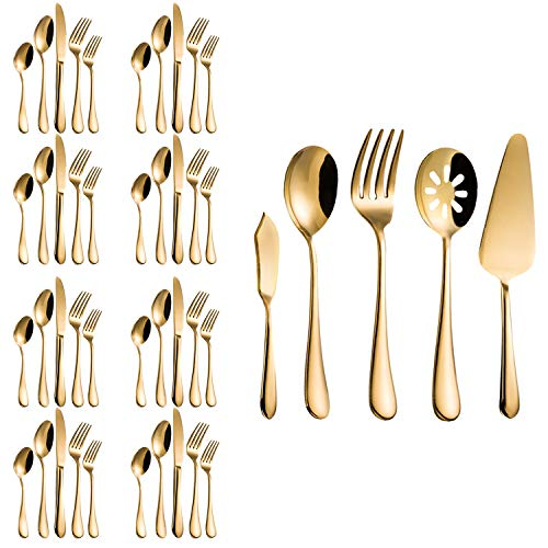 - Flatware Set, Magicpro Modern Royal 45-Pieces gold Stainless Steel Flatware for Wedding Festival Christmas Party, Service For 8