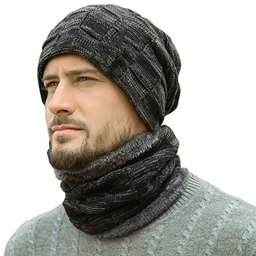 Winter Beanie Hats Scarf Set Warm Knit Hats Skull Cap Neck Warmer with Thick Fleece Lined Winter Hat & Scarf for Men Women Black (Warm Hats For Men)