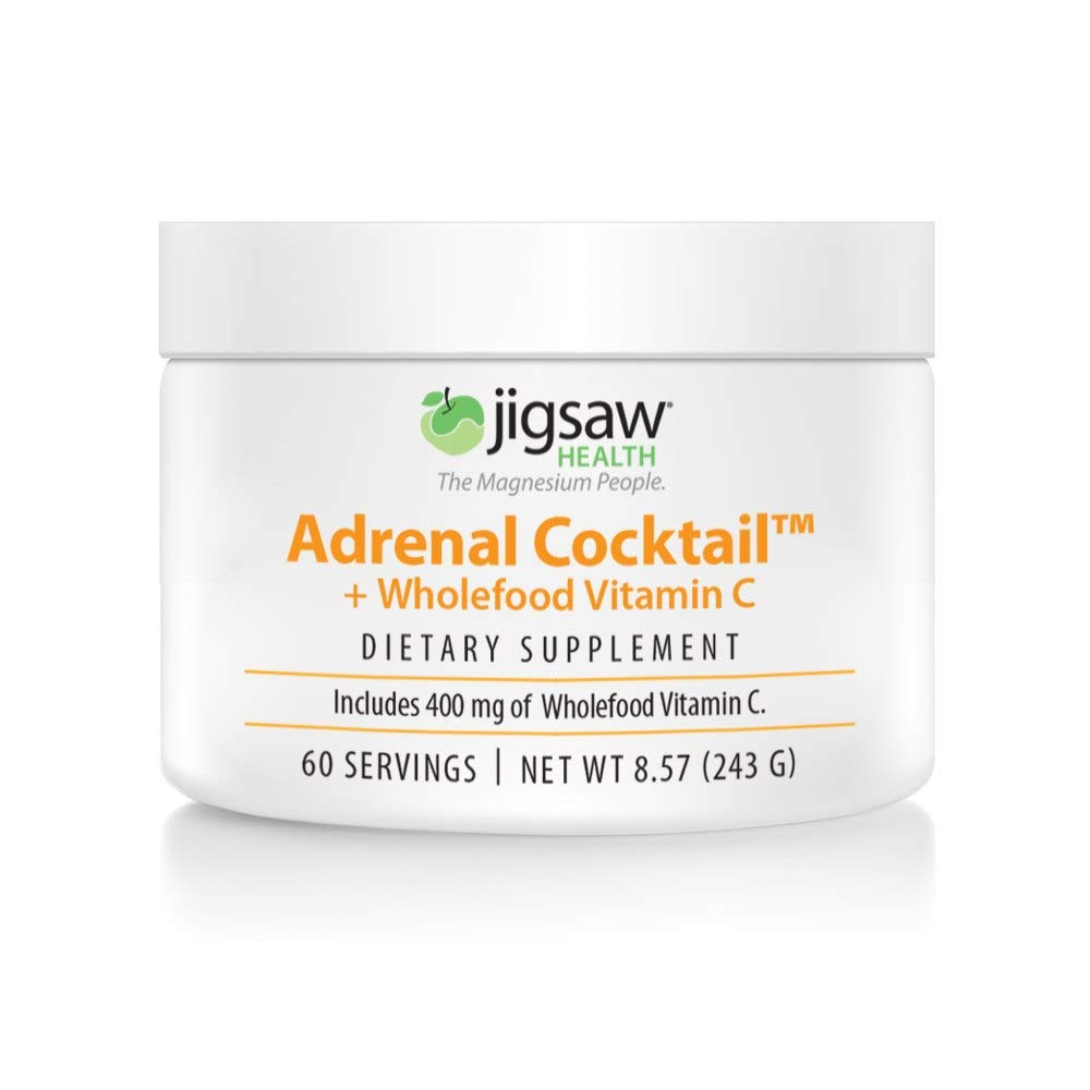 Jigsaw Health Adrenal Cocktail Jar with Wholefood Vitamin C, Potasium, and Redmon's Real Salt. Supports Adrenal Glad Function and Combats Adrenal Fatigue