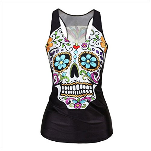 Elakaka Women's Digital Printed Sleeveless T Shirt Vest Tank Tops(25358)