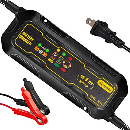 (AstroAI 5000MA Battery Charger, 5A 6V and 12V Smart Automotive Trickle Maintainer for Car Auto Automobile Lawnmower Boat Motorcycle RV ATV SUV Snowmobile)