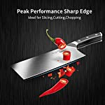 Cleaver Knife, 7 Inch Butchers Knife German High Carbon Stainless Steel Kitchen Meat Chopper Razor Shape Chef's Knives with Ergonomic Handle 9 【Multi-functional Cleaver】 The classic 7 inch cleaver knife can easily handle daily kitchen tasks like chopping, slicing, dicing, mincing, a good chopper for cutting meat and vegetables in your kitchen and restaurant 【Peak Performance Sharp Edge】 17°angle per side, Hand polished by seasoned craftsman, the all-purpose wider blade is very thin and ultra sharp to help you make your best cut, allows to easy resharpen and maintenance 【German HC Stainless Steel 】This butcher's knife is precisely forged by extraordinary quality stainless steel X50CrMoV15 / 1.4116 at 58+ Rockwell Hardness to ensure its wear resistance, durability, corrosion and stain resistance etc
