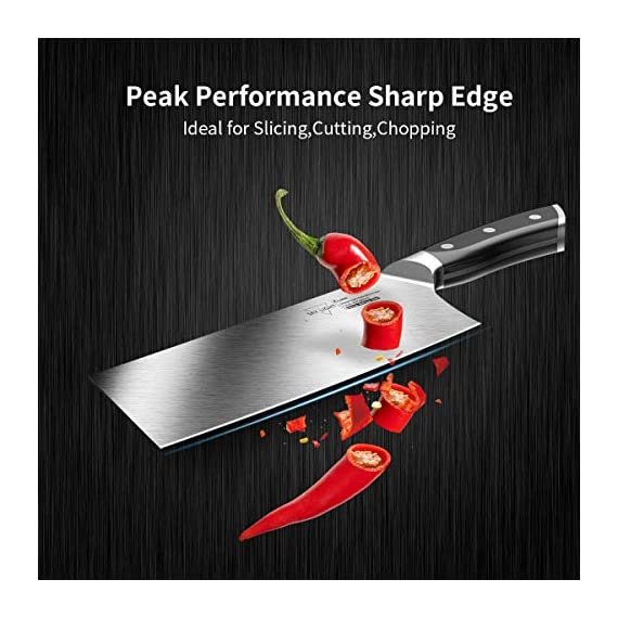 Cleaver Knife, 7 Inch Butchers Knife German High Carbon Stainless Steel Kitchen Meat Chopper Razor Shape Chef's Knives with Ergonomic Handle 2 【Multi-functional Cleaver】 The classic 7 inch cleaver knife can easily handle daily kitchen tasks like chopping, slicing, dicing, mincing, a good chopper for cutting meat and vegetables in your kitchen and restaurant 【Peak Performance Sharp Edge】 17°angle per side, Hand polished by seasoned craftsman, the all-purpose wider blade is very thin and ultra sharp to help you make your best cut, allows to easy resharpen and maintenance 【German HC Stainless Steel 】This butcher's knife is precisely forged by extraordinary quality stainless steel X50CrMoV15 / 1.4116 at 58+ Rockwell Hardness to ensure its wear resistance, durability, corrosion and stain resistance etc