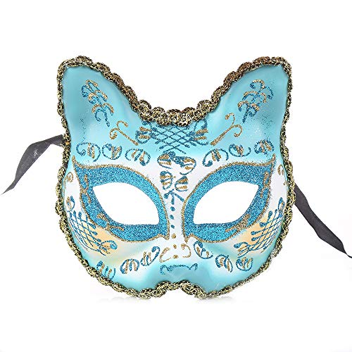 - BLEVET Venetian Masquerade Masks for Child Cat Face Party Mask Party/Ball Prom/Mardi Gras/Wedding/Wall Decoration BK010 (Blue)