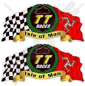 Fahrradhelm Aufkleber Mit Aufschrift Isle Of Man Tt Races Manx Moto Gp Racing 75 Mm 2 Stück Garten