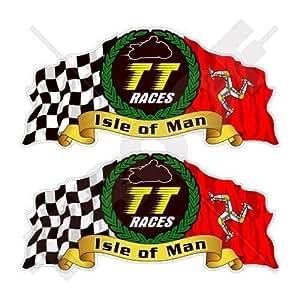 "Isla De Man TT Races Manx Moto GP Racing 3""(75mm) vinilo bike-helmet pegatinas, calcomanías x2"