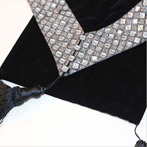 GL&G Fashion Home Table Runner High-grade hand-sewn auger table coffee table flag cloth bed towel hotel table decoration cloth,black,32200cm by GAOLIGUO