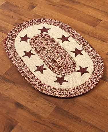 "Country Western Oval Braided Rug or Runner (20"" x 30"", Star)"