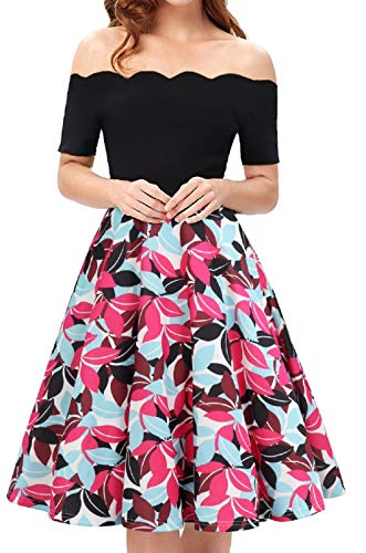 (Womens Summer Dresses Juniors Chiffon Sun Dresses Midi Swing Shirt Dress Flower Dress Floral Dresses for Women Red Size M)