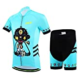 Free Fisher-Unisex Boys Girls Cycling Jersey Set (Short Sleeve Jersey + Padded Shorts)