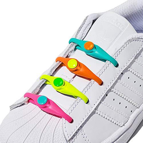 HICKIES Kids Elastic Tieless Laces - Rainbow (Pack Of 10 HICKIES Shoelaces, Works In All Sneakers) ()
