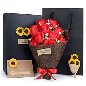 HIMETSUYA Mothers Day Flowers,11PCS/Box Real Looking Luxury Artificial Flowers Fake Roses Bouquet,Best Gifts for Mother's Day Birthday Party Wedding Anniversary Teacher's Day 77