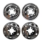 VioGi Fit 4pcs Front+Rear Polished Stainless Steel 17 Dually 8 Lug 5 Hand Hole Wheel Simulators Hub Caps Skins Liners Covers w/ Removable Centre Caps For 03-14 Dodge Ram 3500 Dually With 17 8 Lug 5 Hand Hole Wheels by VioGi