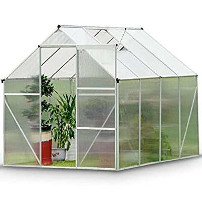 Giantex 4 x6 ft Walk in Greenhouse Heavy Duty Polycarbonate Roof Aluminum Frame, Herb and Flower Garden Green House