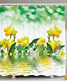 Leaves Shower Curtain Housewarming Gifts Daffodil Green Garden Fabric for Floral Decor Bathroom Decorations in Yellow White and Green Reflection on Water Closeup Picture Flower Pattern