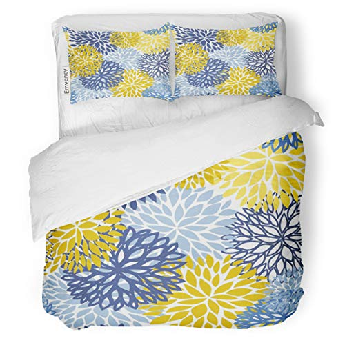 SanChic Duvet Cover Set Green Spring Flower Blue Yellow and Navy Chrysanthemum Decorative Bedding Set with 2 Pillow Cases King Size