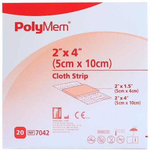 - PolyMem Cloth Strip Wound Dressing, Sterile, Foam, 2' X 4' Adhesive, 2' X 1.5' Pad, 7042 (Box of 20)