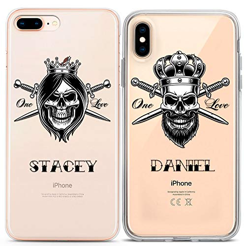 (Lex Altern Matching Custom iPhone Case Xs Max Xr X 10 8 Plus 7 6s 6 SE 5s 5 Apple Hipster Clear TPU Pirate Skull Couple Boyfriend Print Personalized Phone Silicone Tattoo Cover Teen Shell)