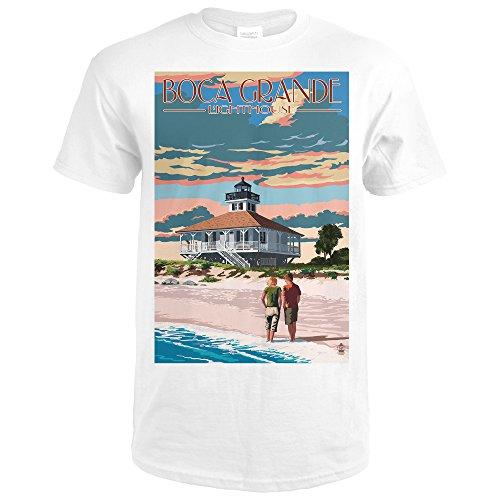 Boca Grande, Florida - Lighthouse (Premium White T-Shirt - Boca Park Shops