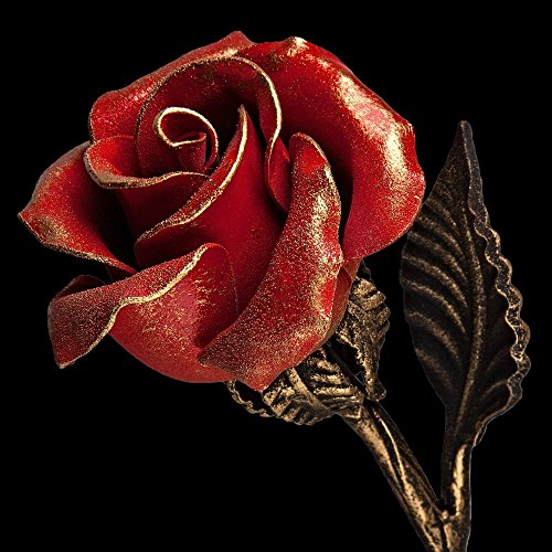 Iron Rose - 6th Year Wedding Anniversary Gift For Her / Red Metal Rose Steel Rose