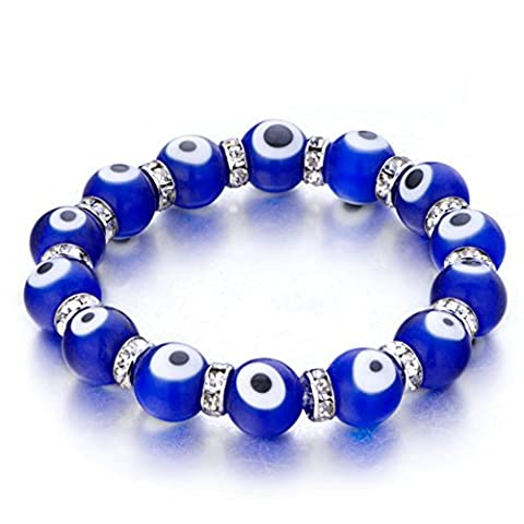 CandyCharms Evil Eye Bracelet Blue Murano glass beads 10mm Stretch Crystal For Women - Deep Blue Murano Glass