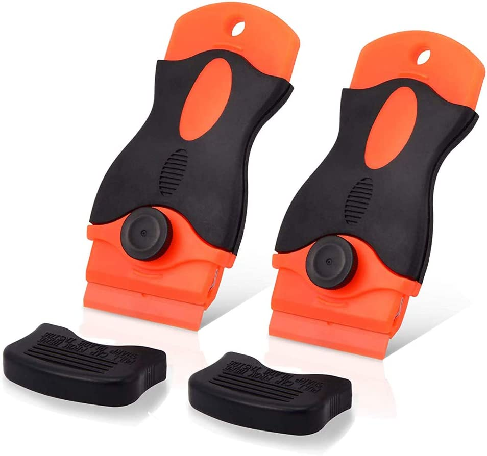 for Removing Label Glue Residue on Soft Surface NO Scratched FULARR 2Pcs Premium 1.5 Plastic Locking Razor Blade Scraper with Safety Cap and 20pcs Double Edged Plastic Razor Blades
