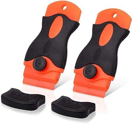 FULARR Premium 1.5 Plastic Locking Double Razor Blade Scraper with Safety Cap and 20pcs Replacement Razor Blades for Removing Label Glue Residue