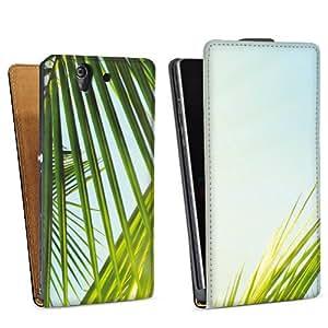 Diseño para Sony Xperia Z L36h DesignTasche Downflip black - Sunny Palms