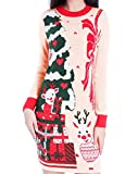 Christmas Sweater, V28 Women Ugly Vintage White Red Merry Xmas Sweater Dress