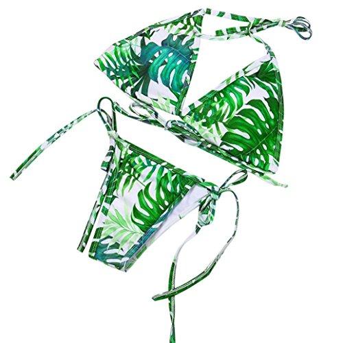 PAOLIAN Trajes de baño de dos piezas Bikini sexy Mujer Verano 2018 Ropa de Playa Bañador Tankinis señora Impreso Hojas Cuello colgante Correa del lazo Ropa ...
