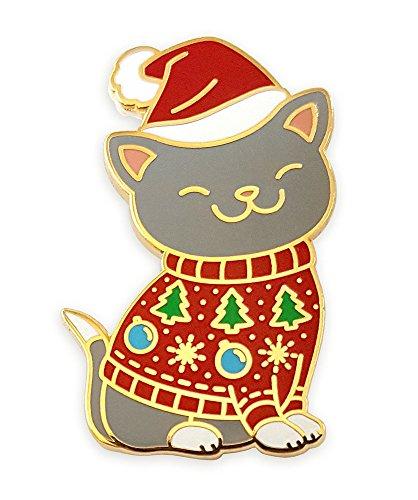 Pinsanity Cute Christmas Kitty Cat In Holiday Sweater Enamel Lapel Pin