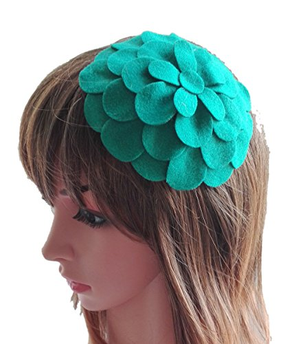 [Fascinator Hair Clip Head Hoop Flower Pillbox Wool Hat Cocktail Party Wedding Green] (1920s Flapper Hairstyles)