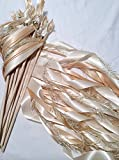 100 wedding wands ivory and toffee send off ribbon streamers with gold frayed ribbon