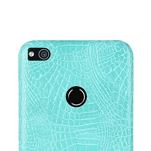 Funda Huawei P8 Lite 2017, SunFay Funda Posterior Protector de PC Carcasa Back Cover de Parachoques Piel PU Protectora de Teléfono Para Huawei P8 Lite 2017 - Marron Azul Verde