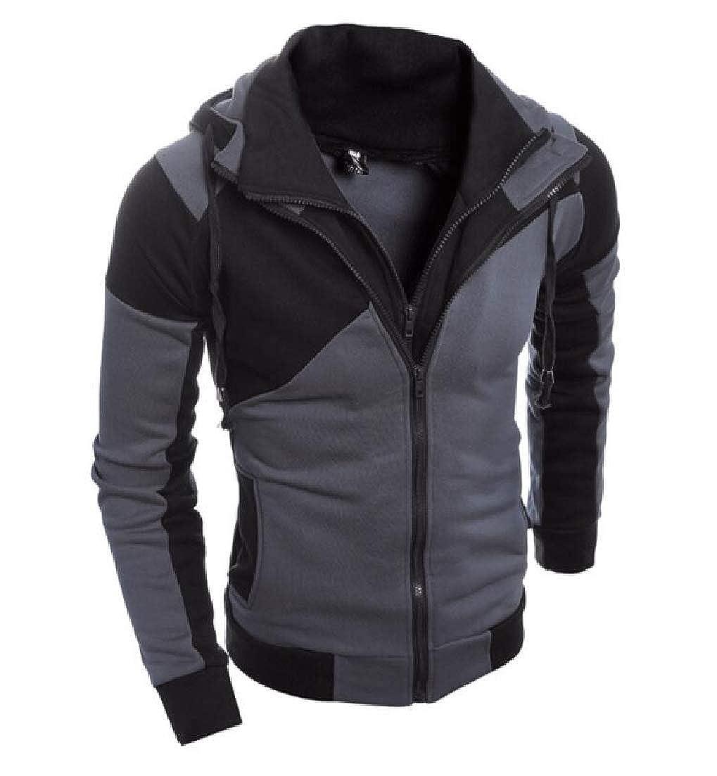 X-Future Men Zip Up Color Block Slim Casual Active Hooded Sweatshirt