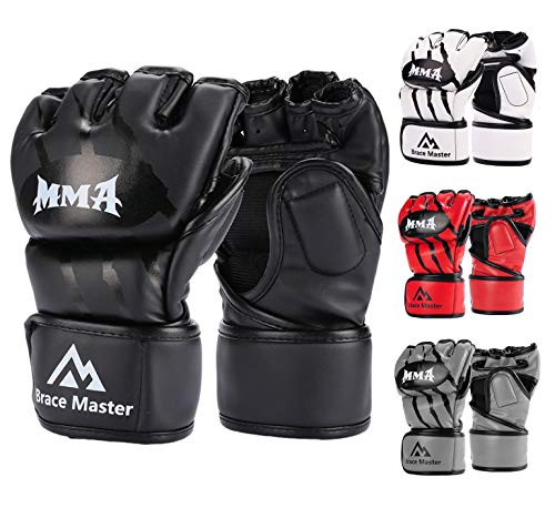 Brace Master Boxing Gloves MMA Gloves for UFC Training Men and Women Leather More Padding Punching Bag Gloves for The Kickboxing, Sparring, Muay Thai Heavy Bag (Small, Black) (Kickboxing Bag Gloves)