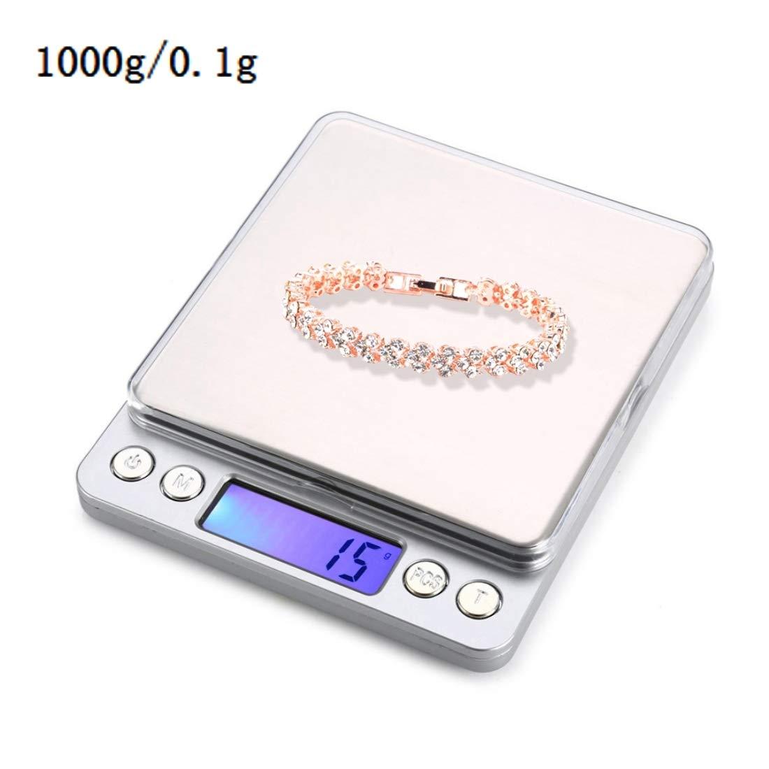 Xiaochou@sl Balanza electrónica portátil de Alta precisión para joyería (0.01 g ~ 500 g), sin batería, Acero Inoxidable. Portátil: Amazon.es: Hogar