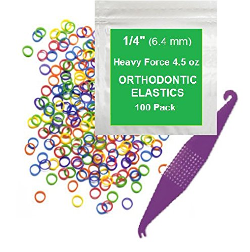 1|4 Inch Orthodontic Elastic Rubber Bands, 100 Pack, Neon, Heavy 4.5 Ounce Small Rubberbands Dreadlocks Hair Braids Fix Tooth Gap, Free Elastic Placer for Braces