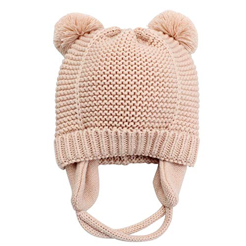 Baby Warm Beanie Hat with Earflaps-Infant Toddler Boys Girls Cute Winter Hat Kids Knit Hat with Soft Fleece Lining-Pink L