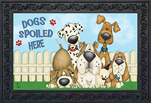 Dogs Spoiled Here Spring Doormat Indoor Outdoor Puppies 18'' x 30''