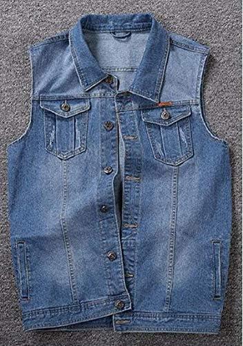 AMMA Men Sleeveless Outerwear Washed Button Up Big & Tall Denim Vest Waistcoat Jacket Coat,Light Blue,3XL
